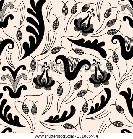 Folk Theme Seamless Pattern/Szekler Floral Pattern