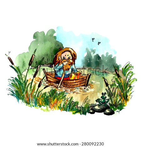 Folklore creature on the boat. Bright cartoon style illustration for your fairy tail about dwarf, goblin, hobbit, troll. Imaginary bizarre creature. - stock vector