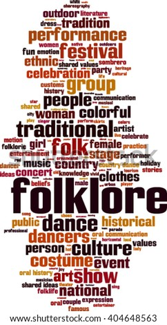 Folklore word cloud concept. Vector illustration