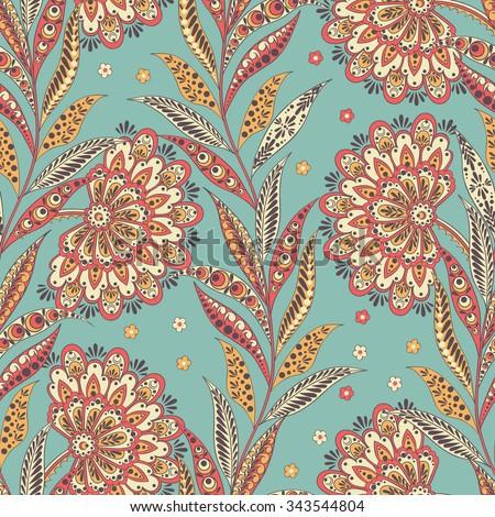 Folkloric Batik vector ornament. Ethnic Floral seamless pattern - stock vector