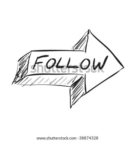 Follow arrow icon sketched in black in vector format. - stock vector