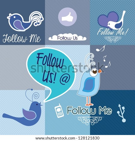 Follow me and follow us, Icons collection. Vector illustration - stock vector