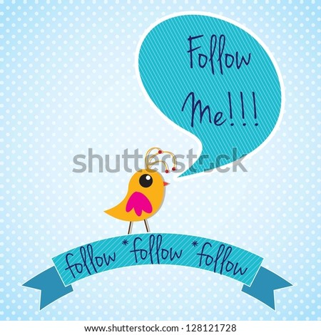 Follow me, label with little colorful bird. Vector illustration - stock vector