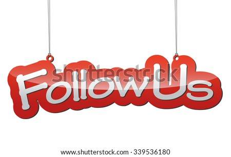follow us, red vector follow us, red tag follow us, background follow us, illustration follow us, element follow us, sign follow us, design follow us, picture follow us, follow us eps10 - stock vector
