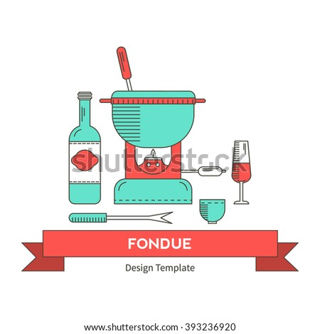 Fondue Party Vector Icon Set Trendy Vector 393724897 – Fondue Party Invitations