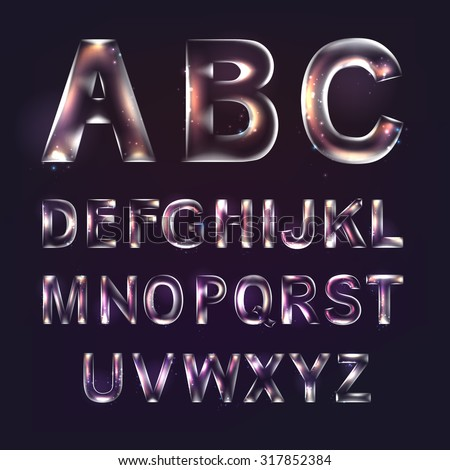 Font alphabet symbols in style of transparent glass isolated over violet background. Vector illustration consists layered structure and may be easy changed. - stock vector