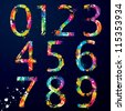 Font - Colorful numbers with drops and splashes from 0 to 9. Vector illustration. - stock vector