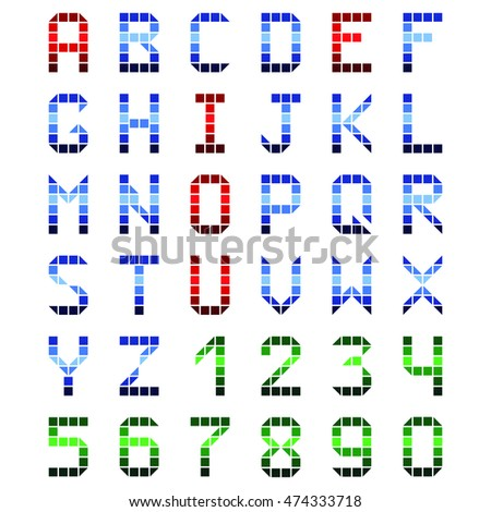 font cubes color on the white background