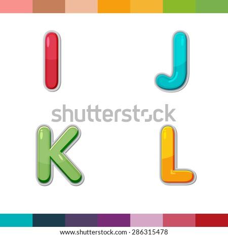 Font Cute Design Cartoon Style Vector Set I J K L - stock vector