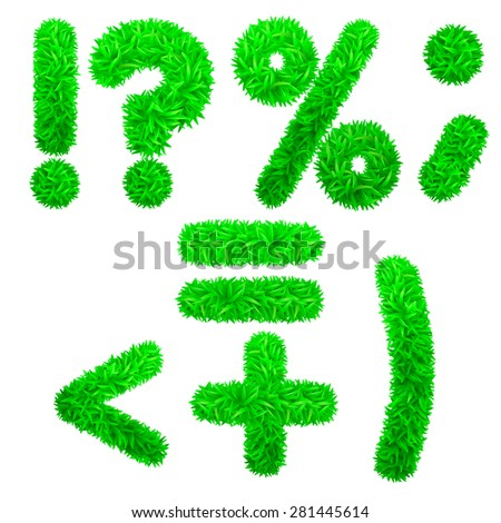 Font. Figures from the grass. Vector  eps 10. - stock vector