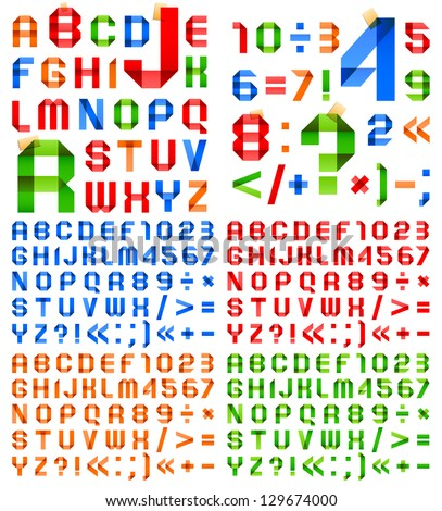 Font folded from colored paper - Arabic numerals and Roman alphabet. (A, B, C, D, E, F, G, H, I, J, K, L, M, N, O, P, Q, R, S, T, U, V, W, X, Y, Z, 0, 1, 2, 3, 4, 5, 6, 7, 8, 9). - stock vector