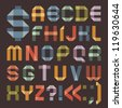 Font from colored scotch tape -  Roman alphabet (A, B, C, D, E, F, G, H, I, J, K, L, M, N, O, P, Q, R, S, T, U, V, W, X, Y, Z). - stock photo