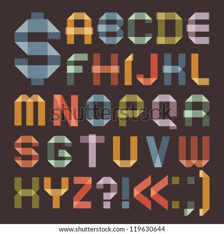 Font from colored scotch tape -  Roman alphabet (A, B, C, D, E, F, G, H, I, J, K, L, M, N, O, P, Q, R, S, T, U, V, W, X, Y, Z). - stock vector