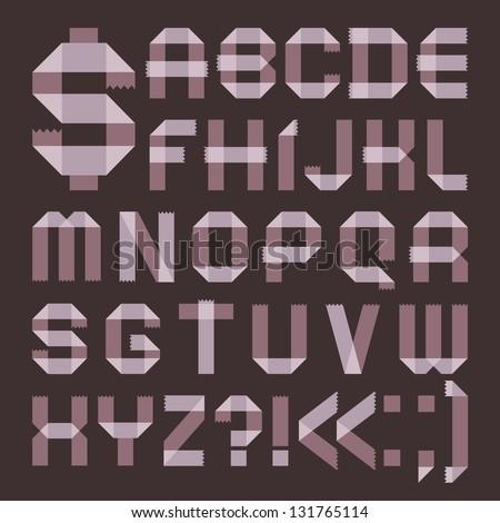 Font from lilac scotch tape -  Roman alphabet (A, B, C, D, E, F, G, H, I, J, K, L, M, N, O, P, Q, R, S, T, U, V, W, X, Y, Z) - stock vector