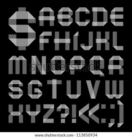 Font from sellotape tape - Roman alphabet (A, B, C, D, E, F, G, H, I, J, K, L, M, N, O, P, Q, R, S, T, U, V, W, X, Y, Z) - stock vector