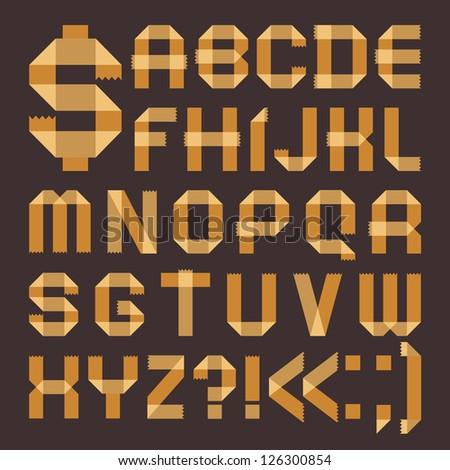 Font from yellowish scotch tape -  Roman alphabet (A, B, C, D, E, F, G, H, I, J, K, L, M, N, O, P, Q, R, S, T, U, V, W, X, Y, Z) - stock vector