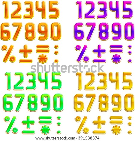 Font in 4 colors, orange, purple, green, yellow. Part 2/2 Digits - stock vector