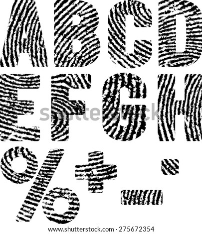 font in shape fingerprints - stock vector