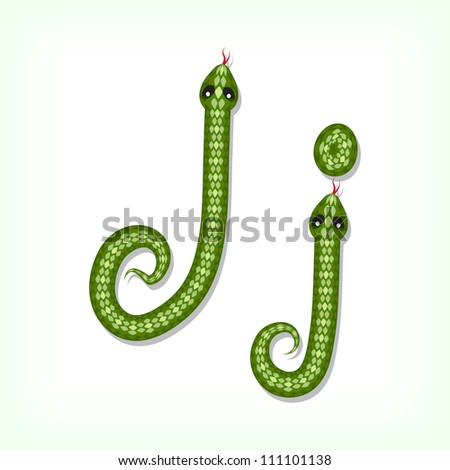 Font made from green snake. Letter J - stock vector