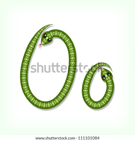 Font made from green snake. Letter O - stock vector