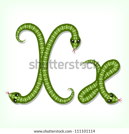 Font made from green snake. Letter X - stock vector