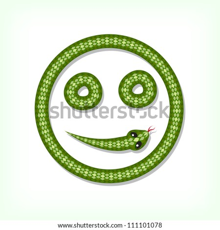 Font made from green snake. Smiley symbol - stock vector