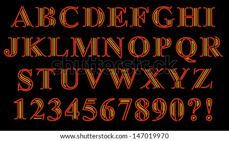 Font of serif characters rendered in neon style - stock vector