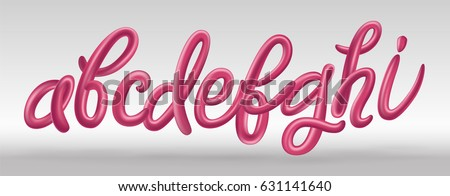 Font set with letters a, b, c, d, e, f, g, h, i. Glossy pink paint letters. 3D render of bubble font with glint. Typography vector illustration.