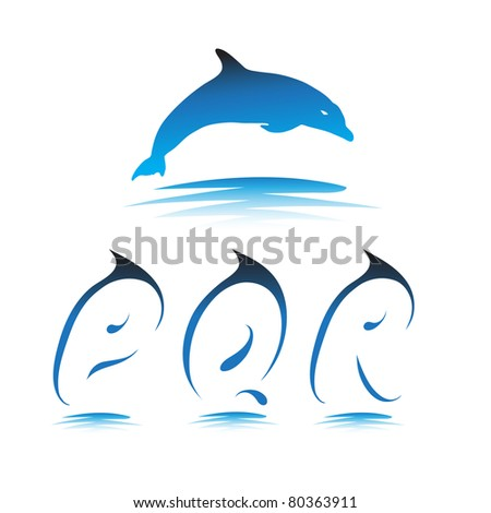 Font the Dolphin. Letters P, Q, R vector