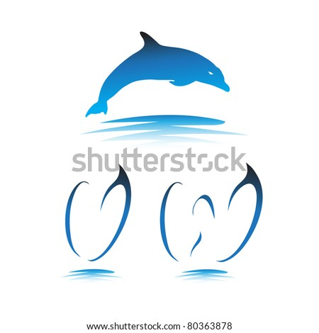 Font the Dolphin. Letters V, W vector