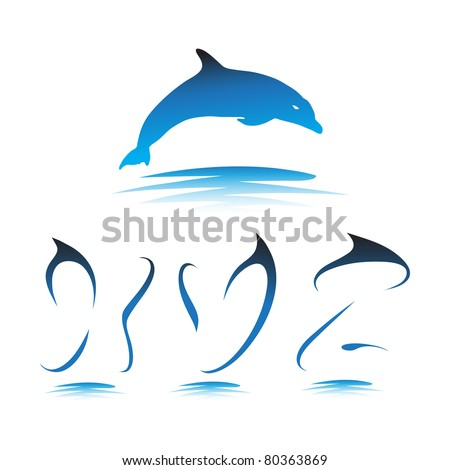 Font the Dolphin. Letters X, Y, Z vector - stock vector