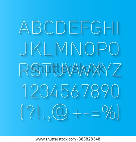 Font Thin Lines with Shadow Isolated on Blue Background - stock vector