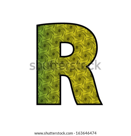 Font with geometric pattern - letter R