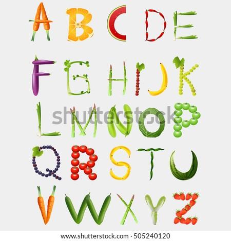 Food alphabet made vegetables fruits font stock vector for Cuisine font