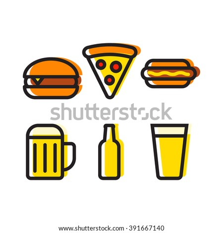 Food and beer set, burger, pizza, hot dog, beer cup, beer bottle icon flat vector on white background. Theme for cafe and restaurant. - stock vector