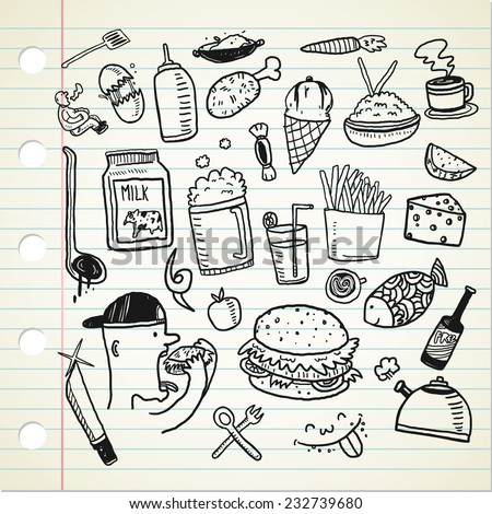 food and beverage doodle - stock vector