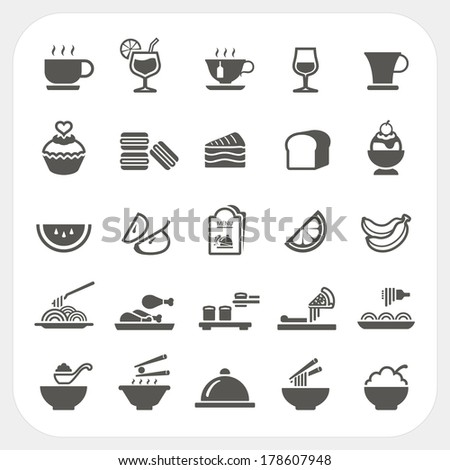 Food and Beverage icons set - stock vector