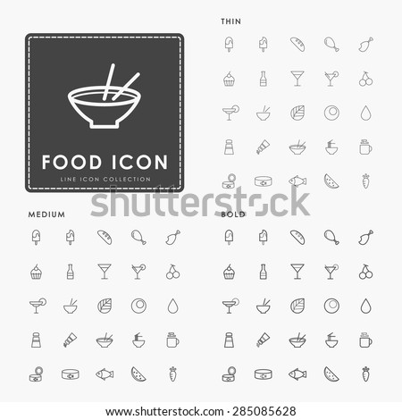 food and beverage on thin, medium and bold minimal line icons concept - stock vector