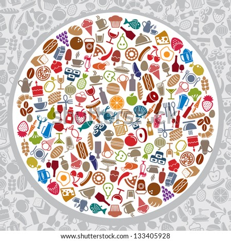 Food and beverages round layout, vector illustration, elements easy to use separately. Eps file contain seamless pattern in background. - stock vector