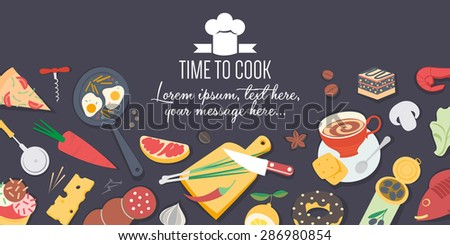 Food and cooking banner - stock vector