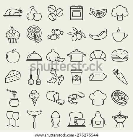 Food and cooking web icons. Set of black symbols for a culinary theme. Healthy and junk food, fruit and vegetables, seafood, spices, cooking utensils and more. Collection of line design elements.