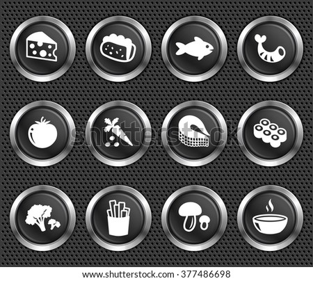 Food and Dinners on Black Round Buttons