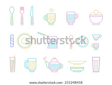 Food and dinnerware set of icons in line vector graphics. Spoon, fork, knife, cup, plate, glass, cezve, teapot, hot beverage and ice-cream  - stock vector