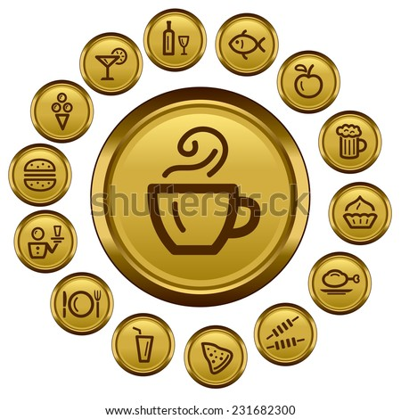 Food and drink button set - stock vector