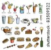 food and drink color vector set - stock vector