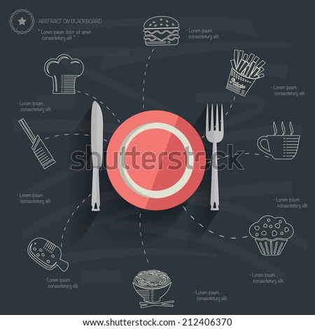 Food and drink concept design,clean vector - stock vector