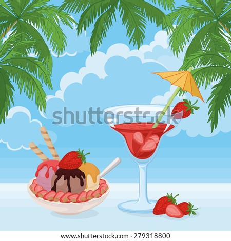 Food and Drink, Cup of Ice Cream, Almond Nuts and Strawberries and a Glass with Berry Cocktail on The Background of Blue Sky with Clouds and Palm Leaves. Vector - stock vector