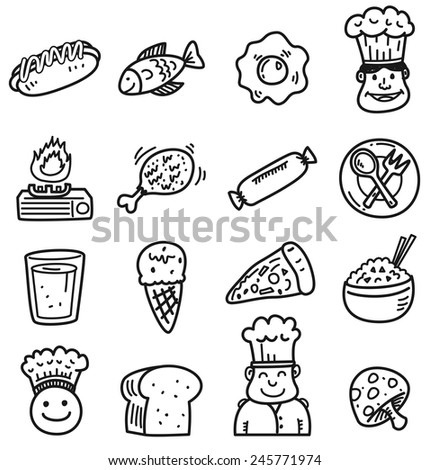 food and drink doodle icon - stock vector