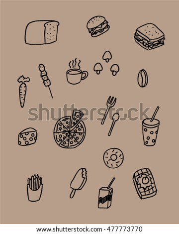 Food and drink doodle style (vector art)