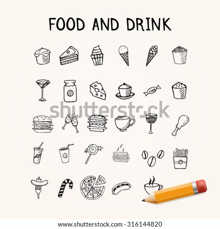 Food and drink doodles Icons